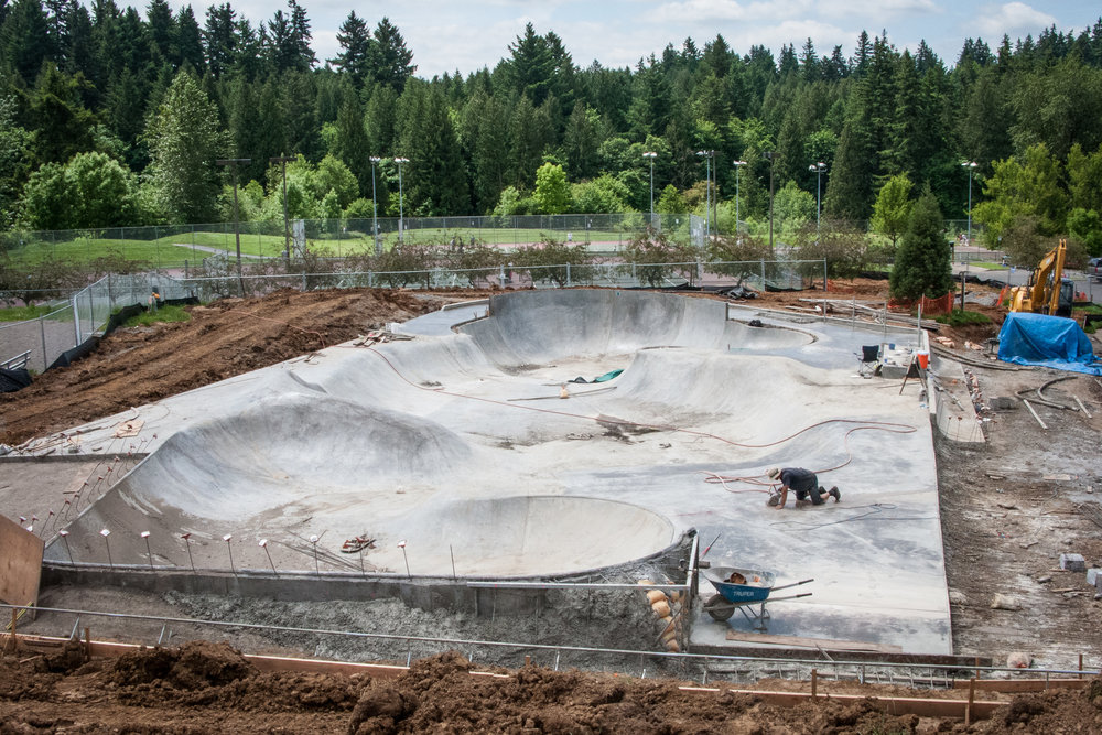 Air Speed Skateparks designed and constructed the skatepark at Gabriel Park. This photograph shows the halfway point of the build.