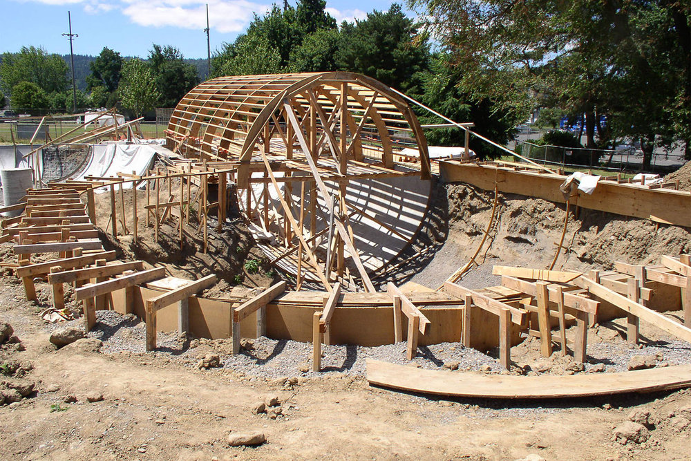 The shape of things to come; top plate forms and framework begins to take shape for Pier Park's unique skatepark.