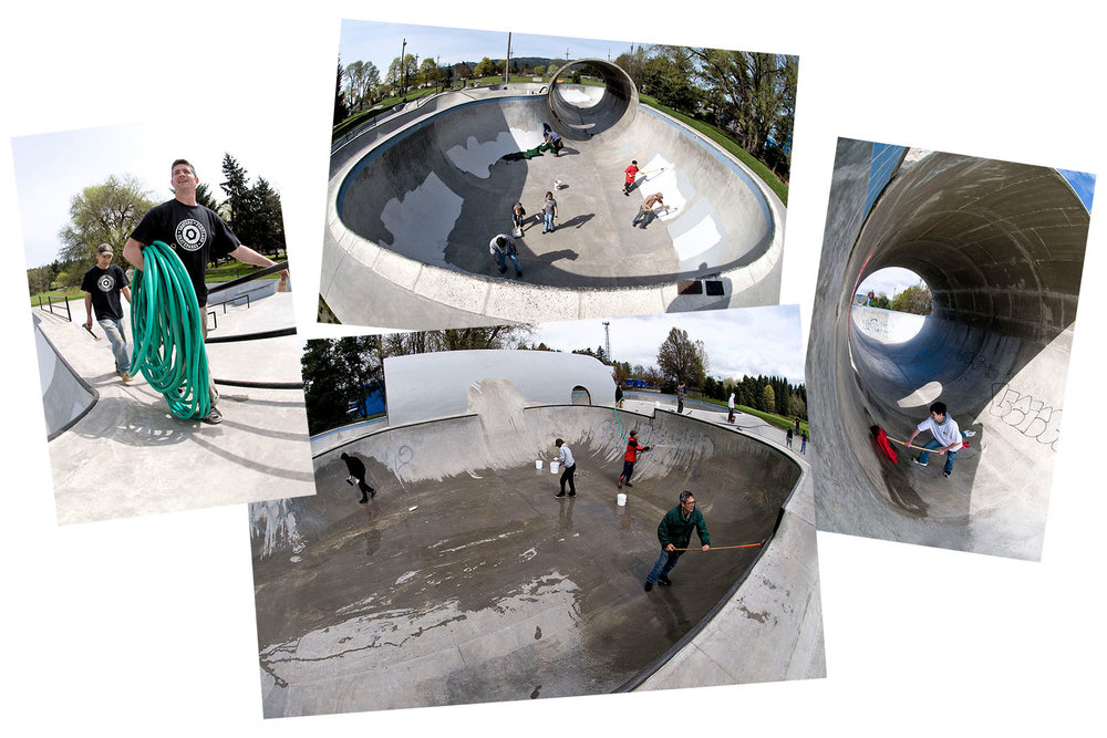 Skaters for Portland Skateparks volunteer team care for their grounds with graffiti removal and clean up at Pier Park Skatepark. Photos by EarthPatrol Media