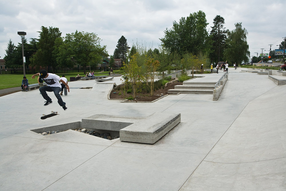 Ed Benedict Skate Plaza offers plenty of ledge features and challenging urban terrain for Portland's street skating community.