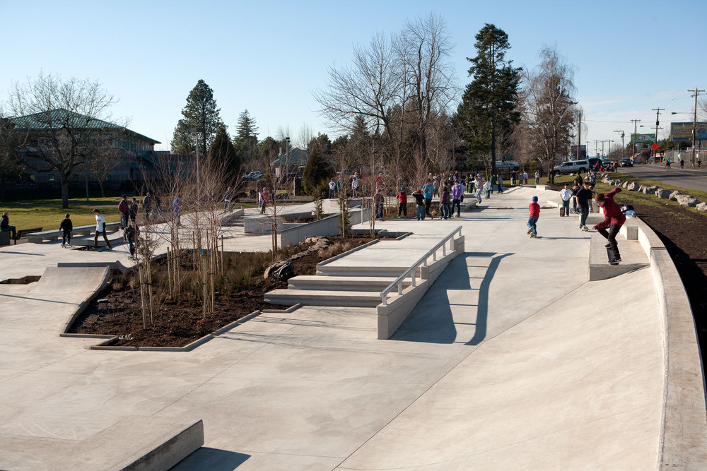 Gaps, ledges, stair sets, rails and an assortment of urban features await street skaters of all abilities at Ed Benedict Street Plaza.