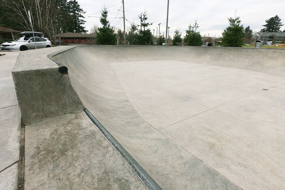An extension section of the bowl at the Gateway Skate Spot helps to push the progression of tricks.