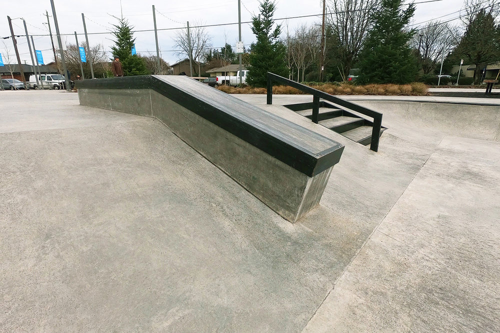 Ledge, rail and steps at the Gateway Skate Spot.