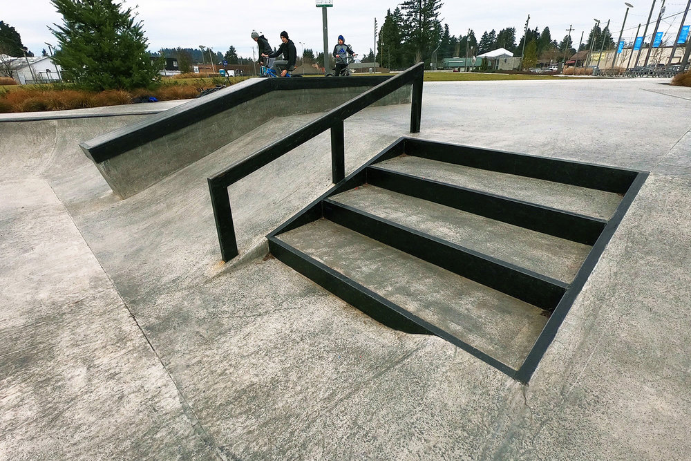 Steps, rail and ledge features at the Gateway Skate Spot