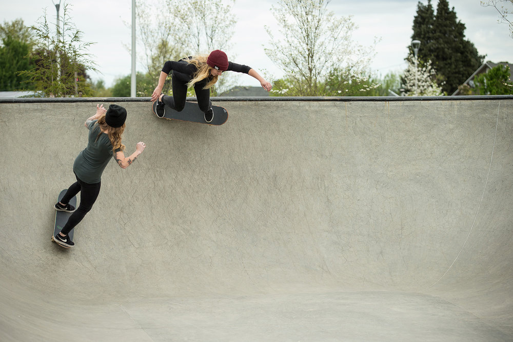 Lindsay Jo Holmes and Mackenzie Moss enjoy the transitions at the Luuwit Skate Spot.