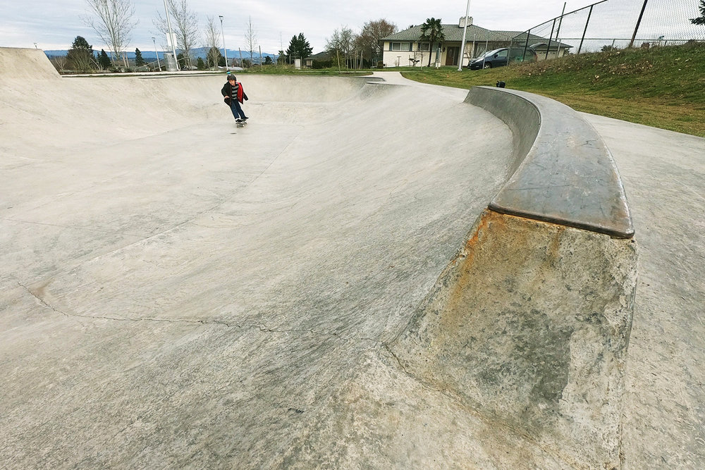 A steel capped curb feature at the Luuwit Skate Spot.