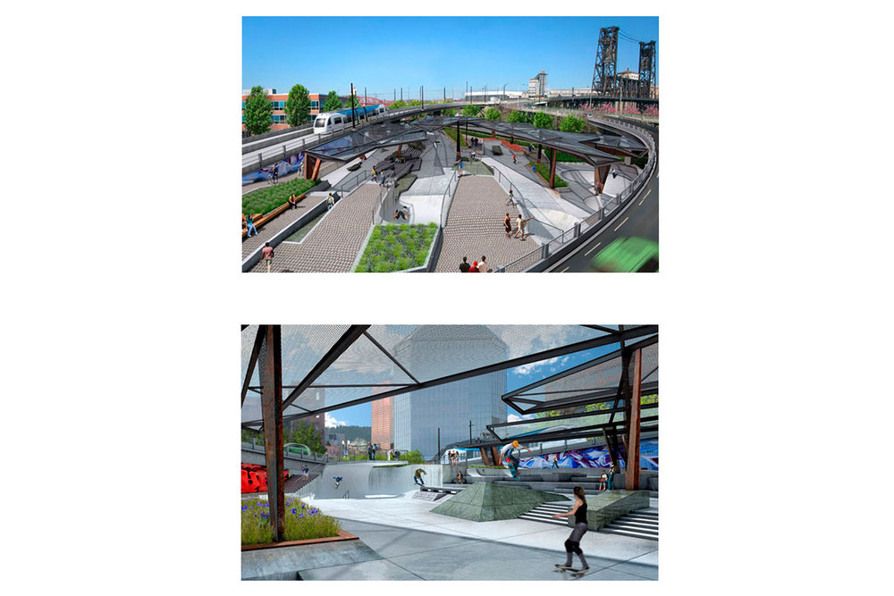 Preliminary renderings showing an overview and a street inspired section of the 30,000 square foot ODOT Steel Bridge Skatepark project.