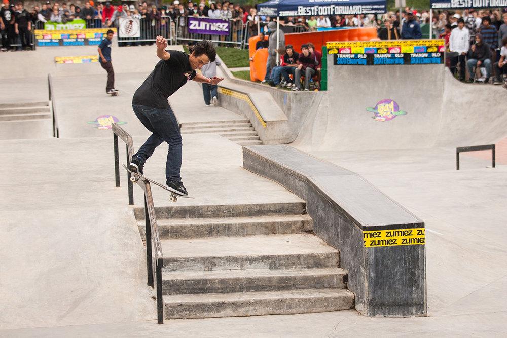 Pro skater Cairo Foster utilizes a rail during a publicized skate demo at the Glenhaven Skatepark.