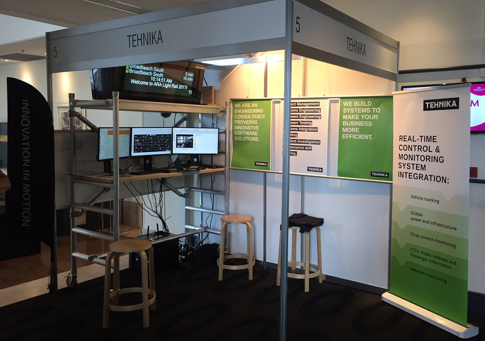 Tehnika's booth at Light Rail 2017, Gold Coast, 21-22 February, featuring G:Link real-time passenger information.