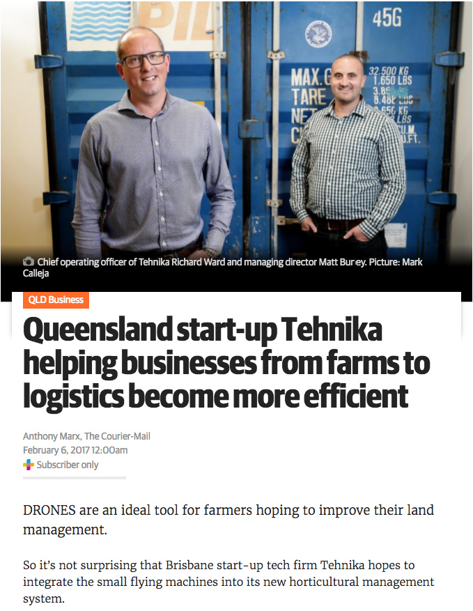 Richard Ward and Matt Burey from Tehnika Pty Ltd in Courier Mail