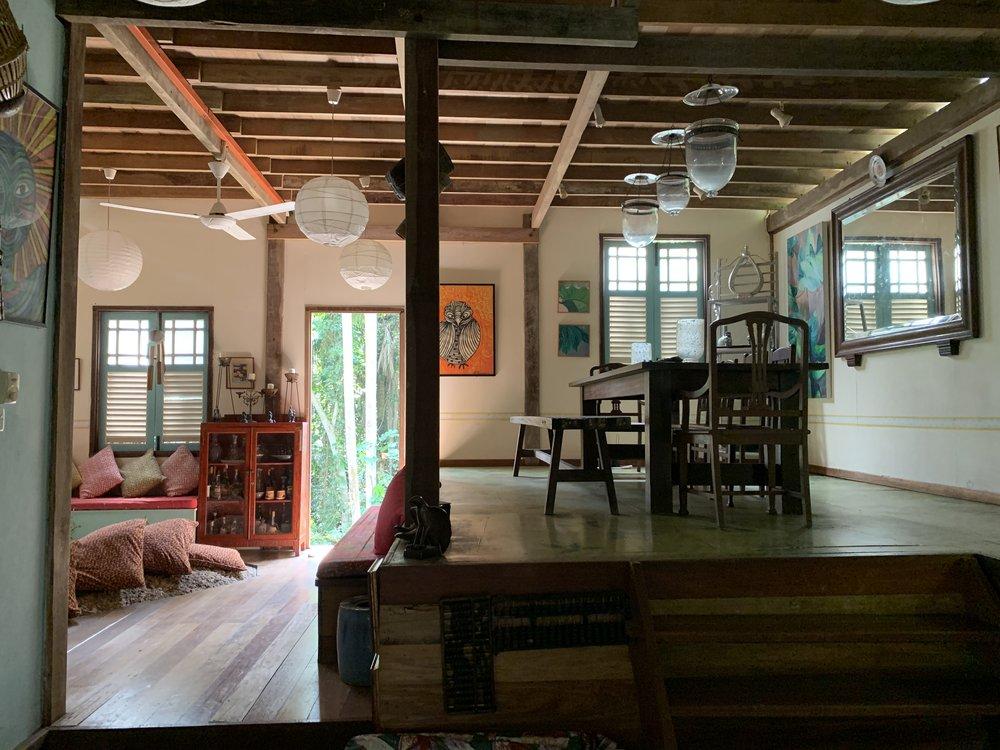 Tiger Rock. Living area, Main House. Like a jungle treehouse.