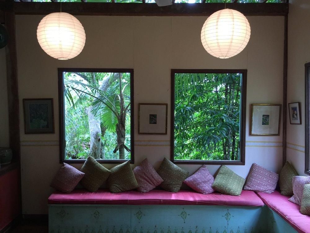Tiger Rock. Living area, Main House. Jungle views.