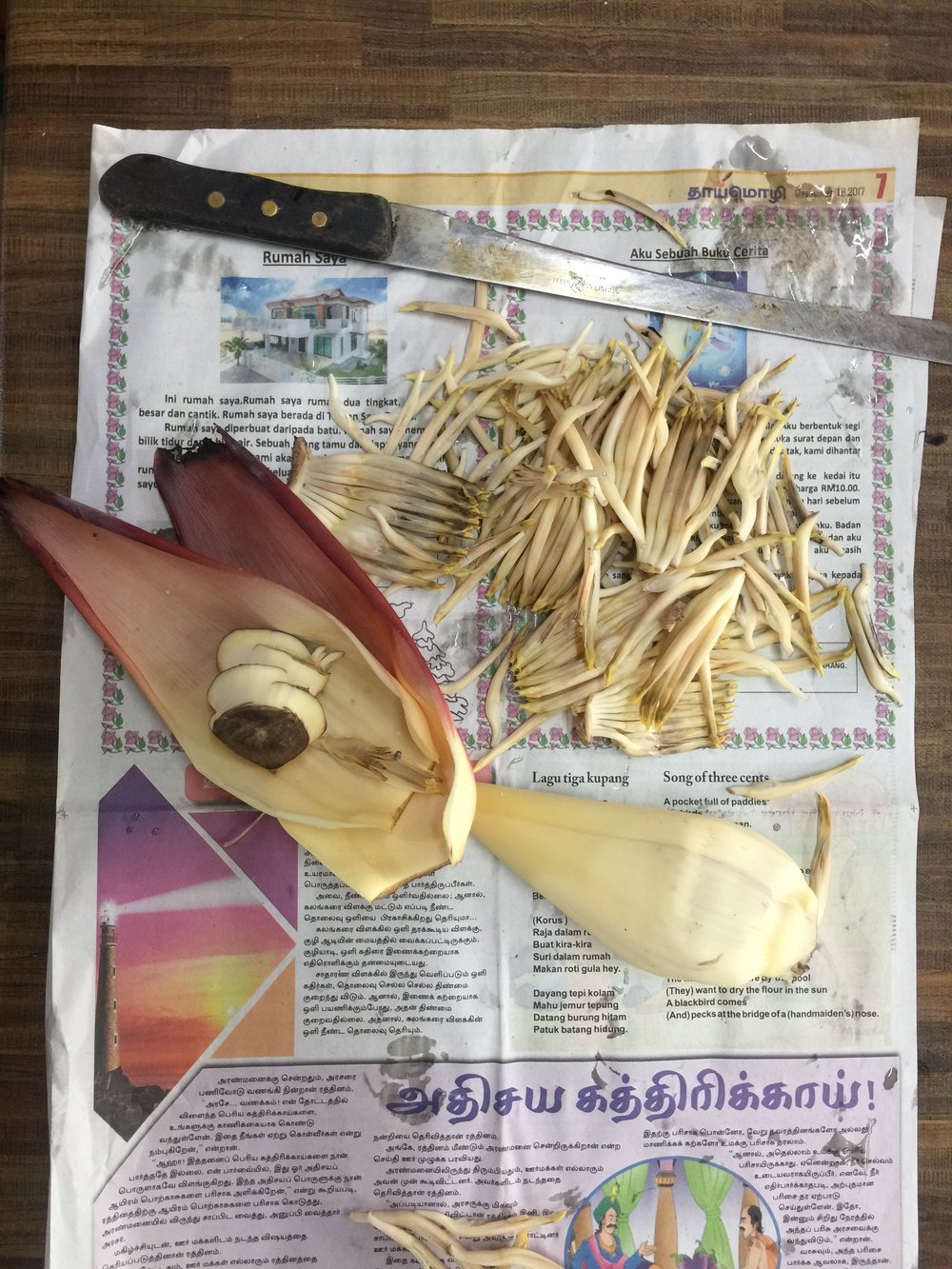 Preparing banana flower