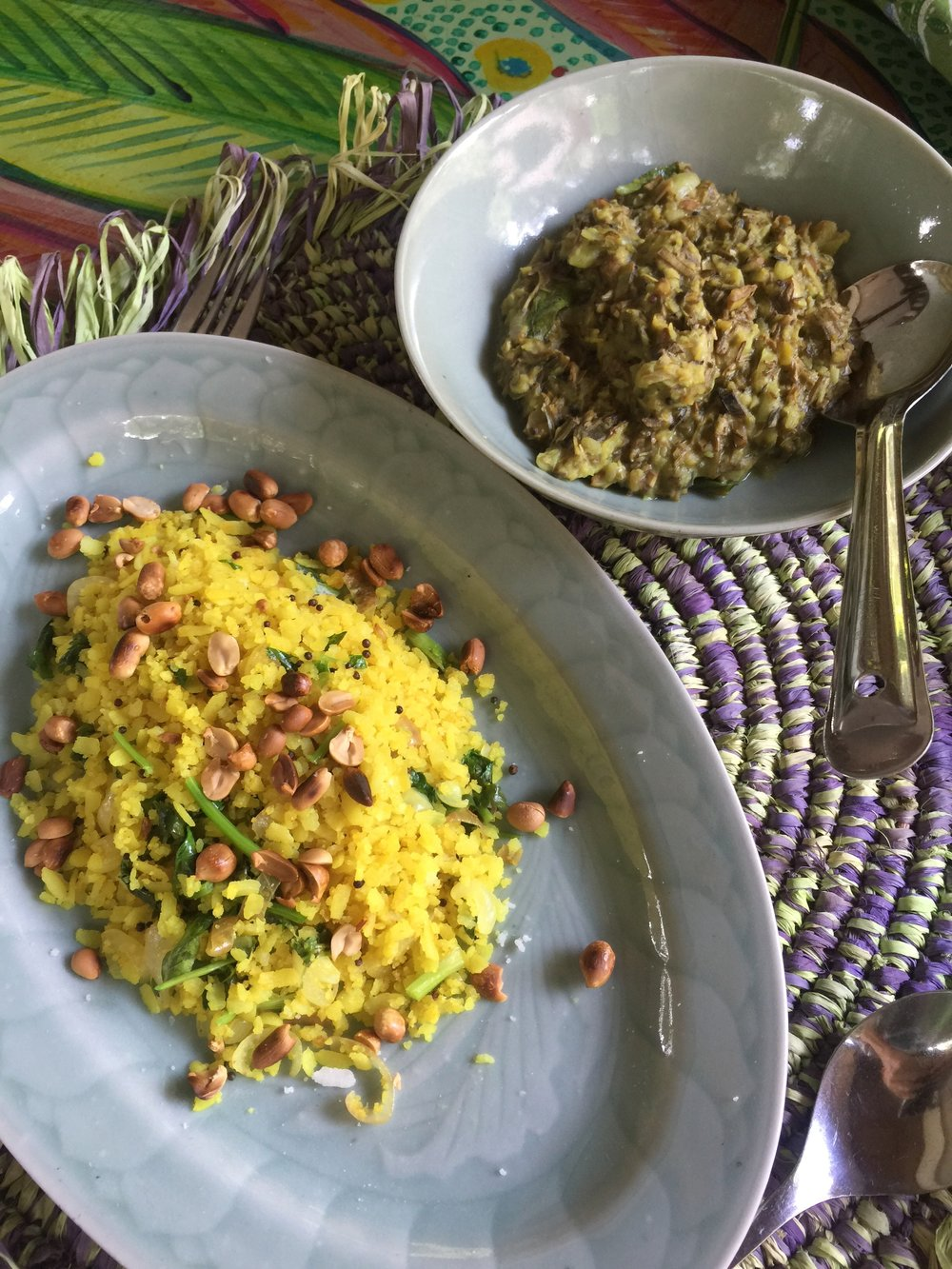 Ayurvedic vegan yellow rice & chutney