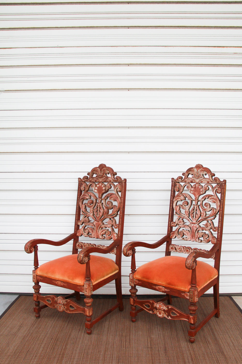 Antique Carved Apricot Thrones