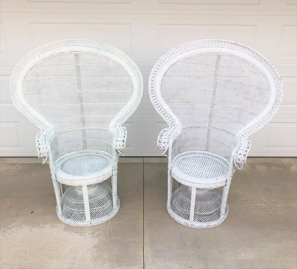 White Wicker Peacock Pair