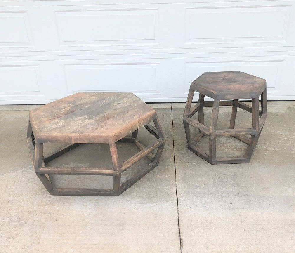 Geometric Coffee Table & End Table