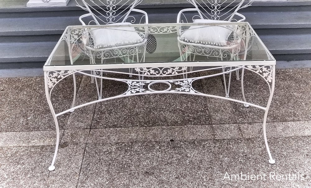 White Iron Glass Top Table