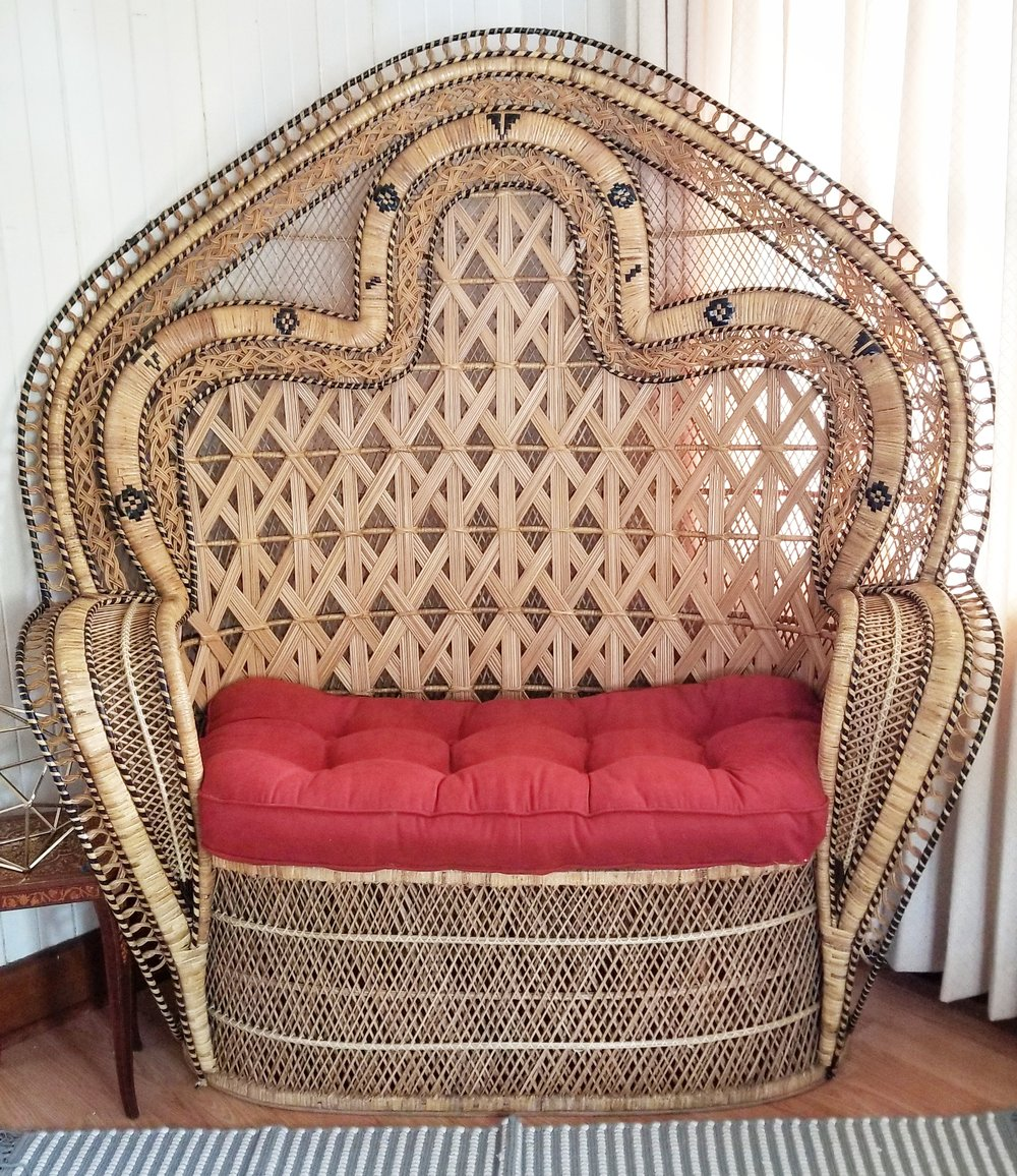 Golden Double Peacock Chair (Wicker/Loveseat)