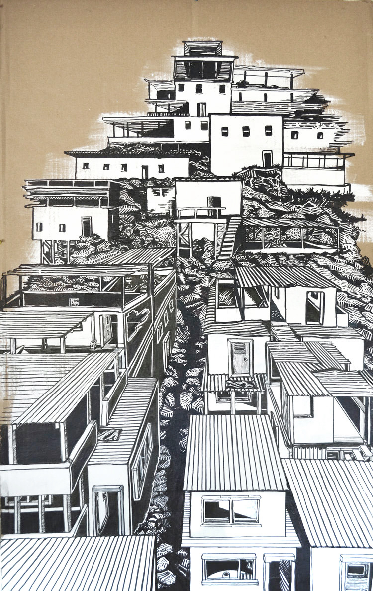 """Cityscape 1""  //  Acrylic and ink on cardboard  //  29"" x 45""  //  2015"