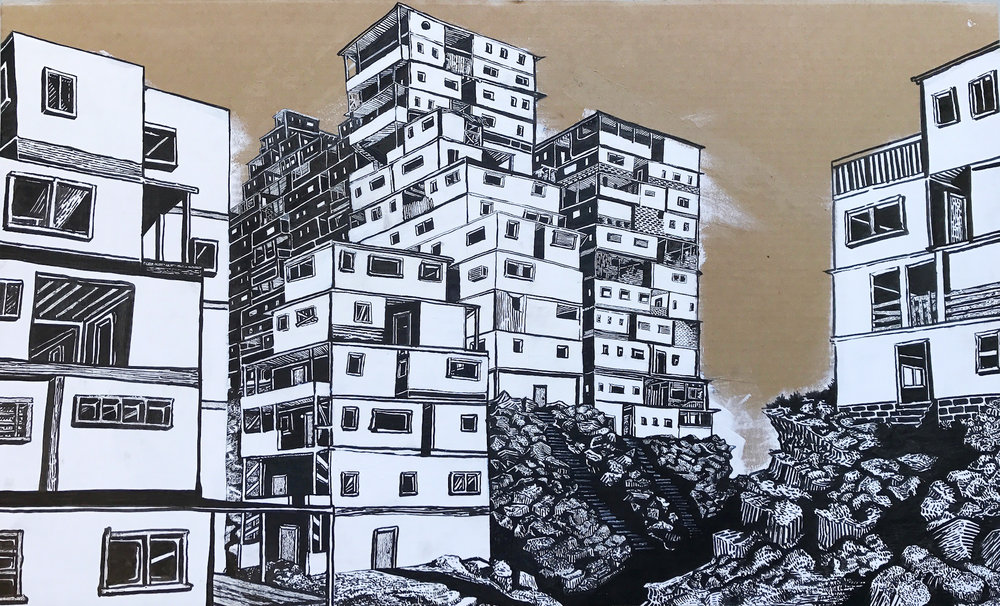 """Cityscape 2""  //  Acrylic and ink on cardboard  //  42"" x 25""  //  2016"