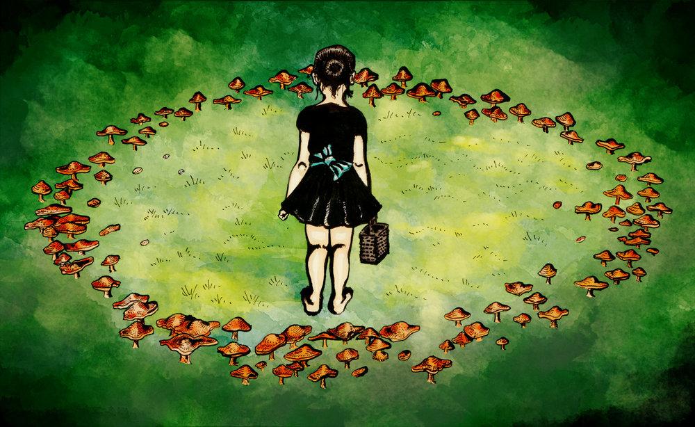 """Fairy Circle""  //  ink & digital color  //  November 2017"