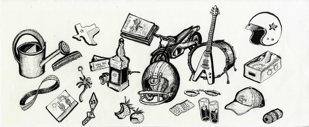 Raw illustration for All Hail West Texas. Each object is referred to in the lyrics of a specific song.