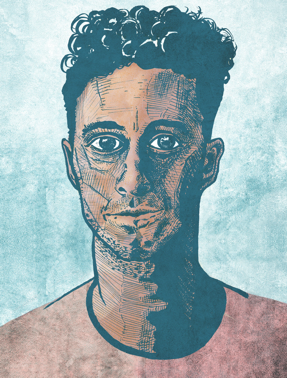 Portrait  //  ink, digital  //  January 2018