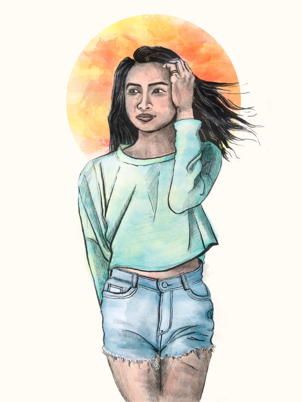 Portrait // ink, graphite, digital color // July 2018