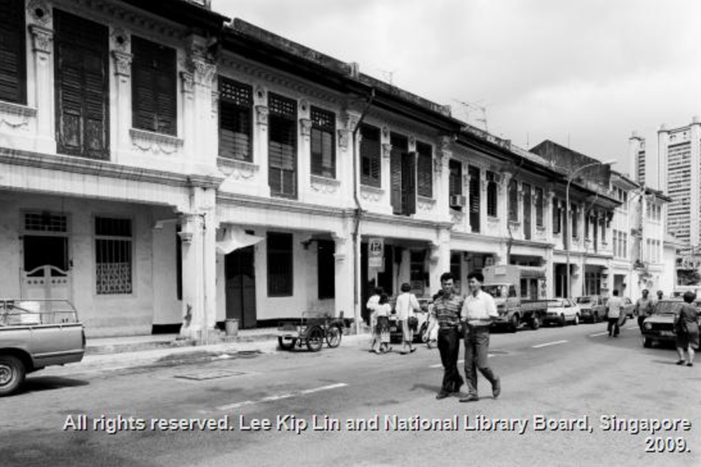 A dentist, an Indian bunk, and a martial arts training school named Sim San Loke Hup occupied this row of shophouses.   *Photo credit:  National Library Board  Singapore