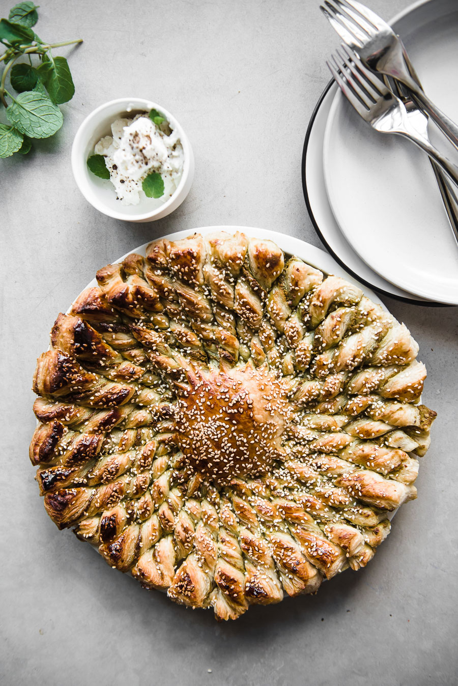 Pistachio Olive Pesto Tarte Soleil - Gather A Table