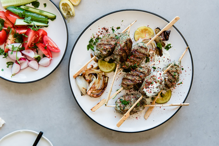 Turkey Kefta Kabobs with Roasted Artichoke Tahini and Za'atar Lafa Bread | Gather a Table