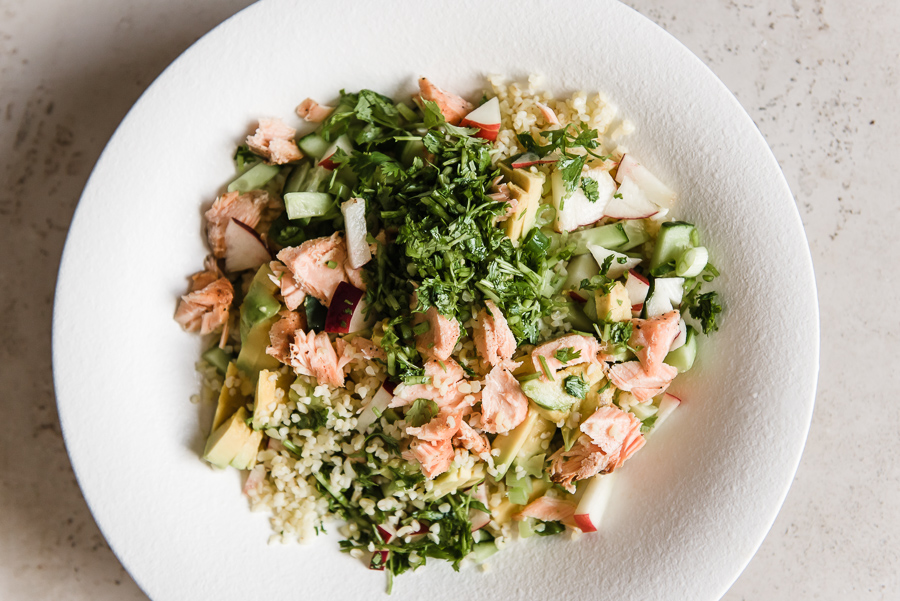 Salmon Bulgur Salad with Herby Vinaigrette | Gather a Table