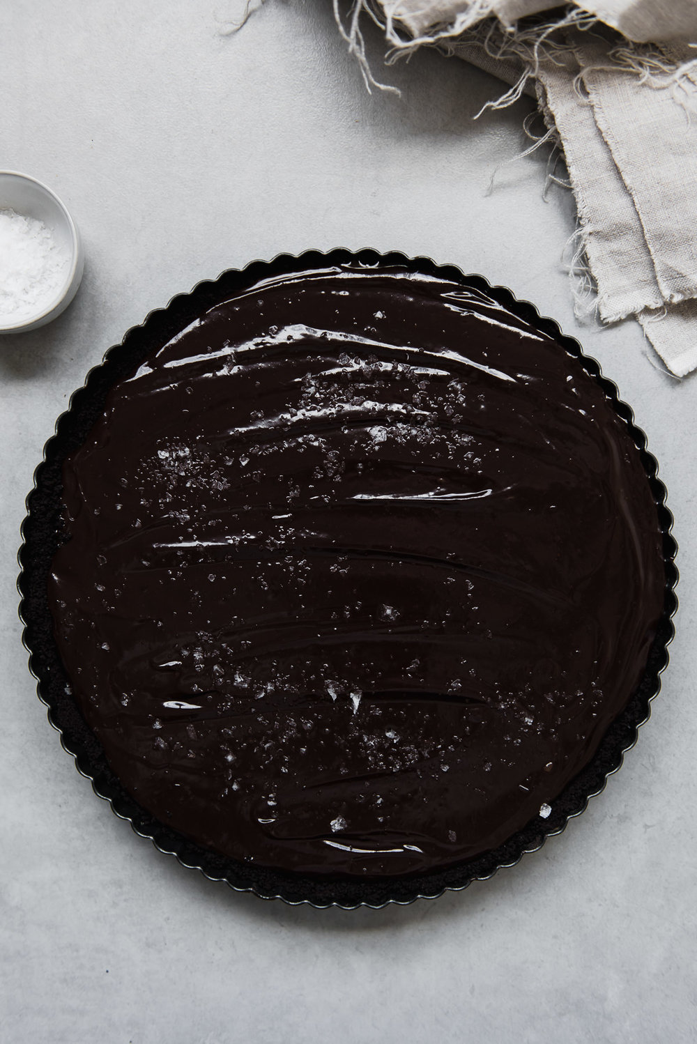 Dark Chocolate Tahini Caramel Tart | Gather a Table