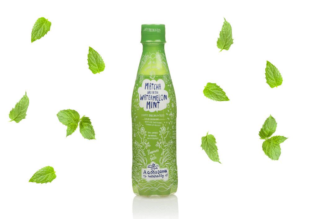 Matcha Green Tea Watermelon Mint soda pop drink Action