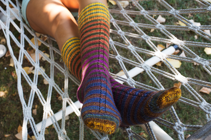 Cabled Insert Striped Sock