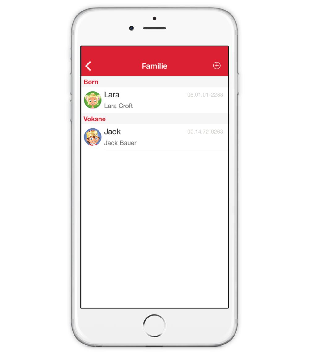CLUB BR medlems app - Familieoversigt