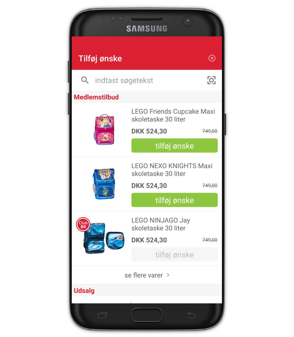 CLUB BR medlems app - Tilføj ønsker til liste