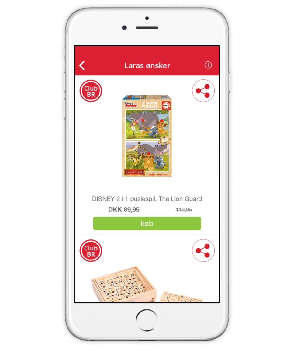 CLUB BR medlems app - Ønskeliste