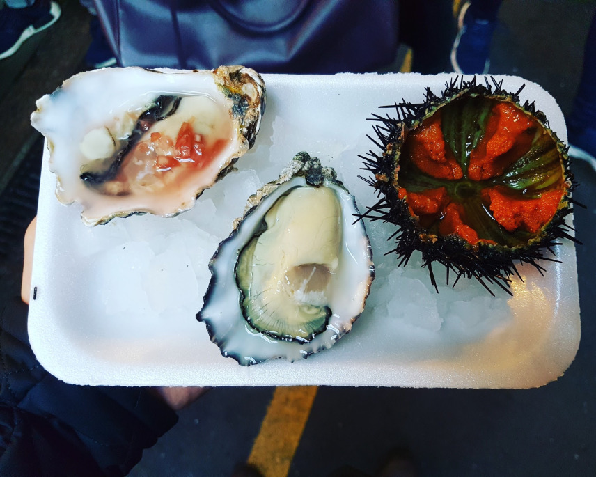 Oysters and urchin