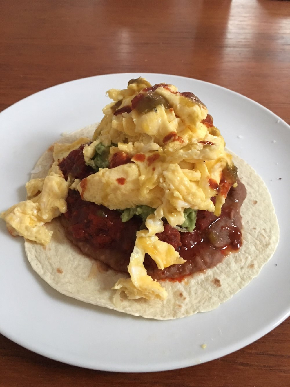 huevos rancheros, but pregnancy friendly - no runny eggs for me for another 6 months :(