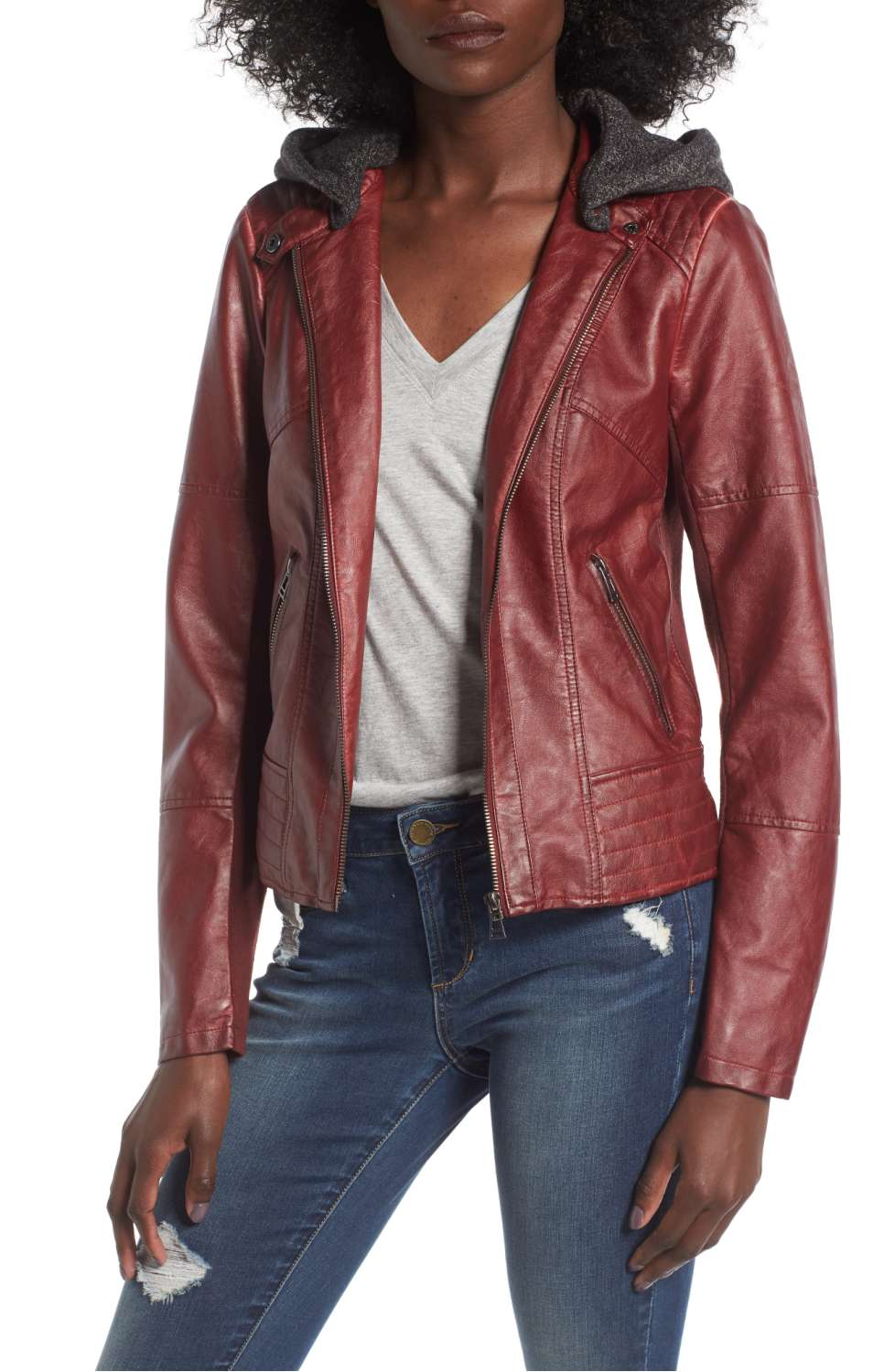 SEBBY Faux Leather Jacket with Detachable Jersey Hood - Was $109 Now $69.90