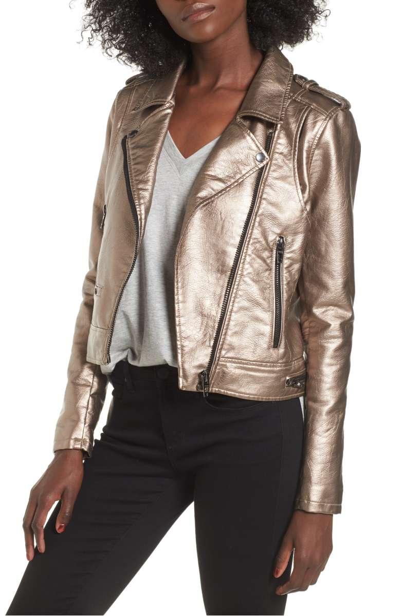 BLANKNYC Metallic Leather Moto Jacket - Was $129 Now $85.90