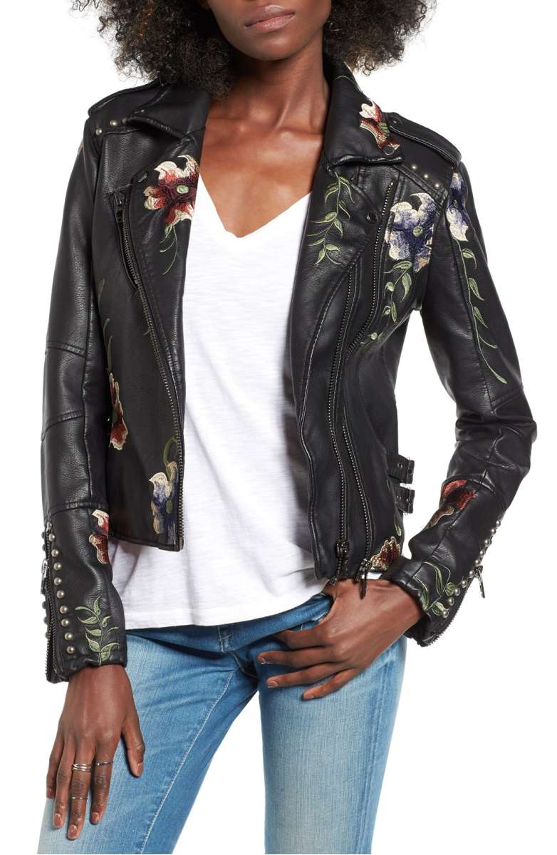 BLANKNYC Embroidered Faux Leather Moto Jacket - Was $168 Now $111.90