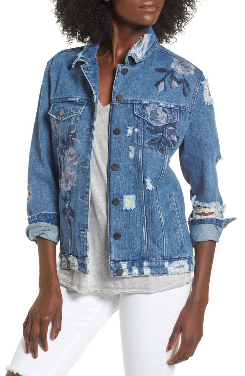 Love, Fire Floral Embroidered Ripped Denim Jacket - Was $69 Now $45.90