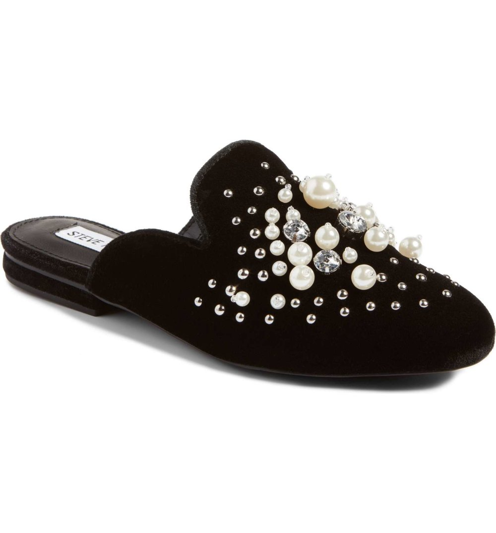 Steve Madden Imitation Pearl Embellished Mule - Was $89.95 Now $59.90