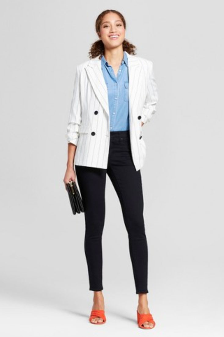 A New Day Women's Striped Double-Breasted Blazer | $34.99