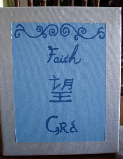 DIY canvas art, faith hope love