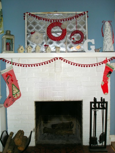 red & silver holiday mantel