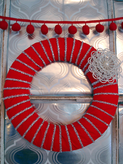 red & silver ribbon wreath